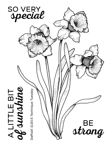 Daffodil - Greenhouse Society stamp set from Technique Tuesday