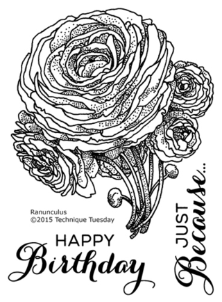 Ranunculus - Greenhouse Society stamp set from TechniqueTuesday.com