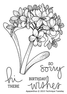 Agapanthus clear stamp set from TechniqueTuesday.com