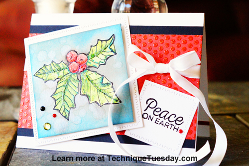 Peace on Earth card by Lisa Adametz for TechniqueTuesday.com