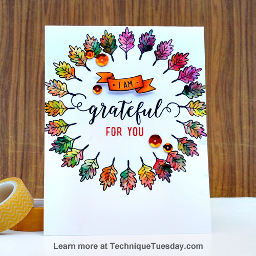 Grateful Leaves card by Tonya Dirk for TechniqueTuesday.com