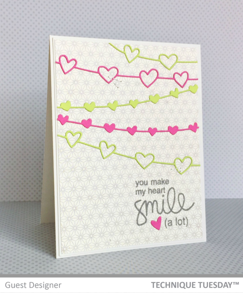 Heart Smile Hearts card by Jill Hawkins for Technique Tuesday // TechniqueTuesday.com