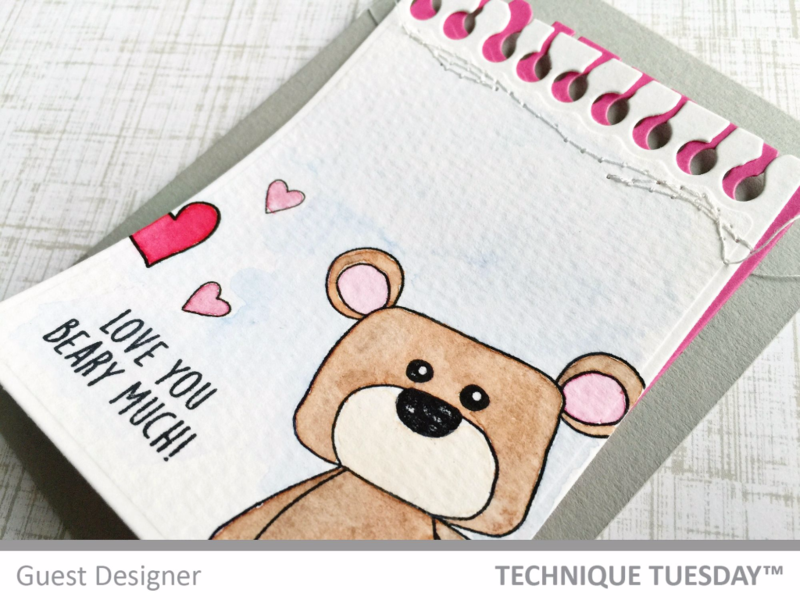 Beary Much card by Jill Hawkins for Technique Tuesday // TechniqueTuesday.com