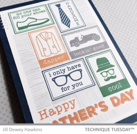 Father's Day handmade card by Jill Hawkins for Technique Tuesday // TechniqueTuesday.com