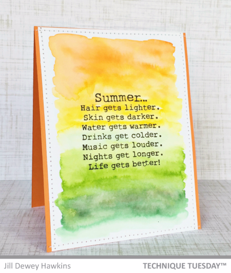 Summer card by Jill Dewey Hawkins for Technique Tuesday // TechniqueTuesday.com