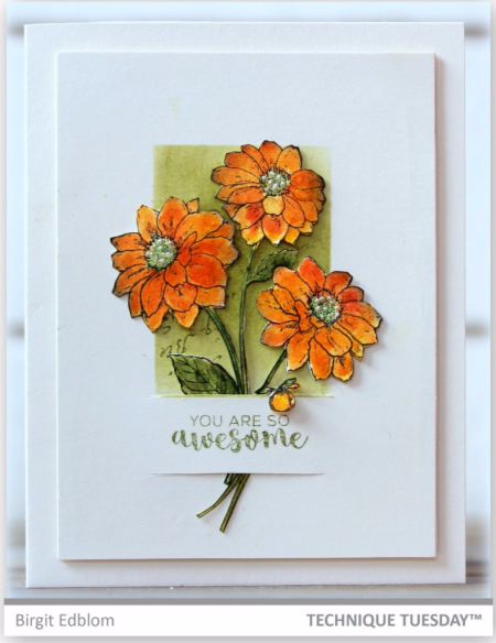 Handmade card by Birgit Edblom for Technique Tuesday // TechniqueTuesday.com