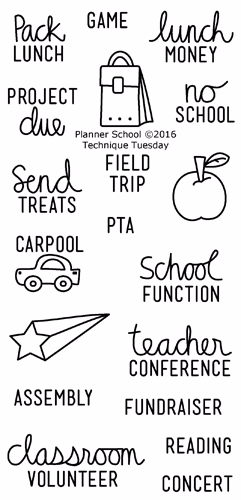 Technique-Tuesday-Planner-School-Clear-Stamps-Large