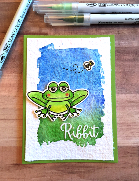Ribbit handmade card by Jana Millen for Technique Tuesday // TechniqueTuesday.com