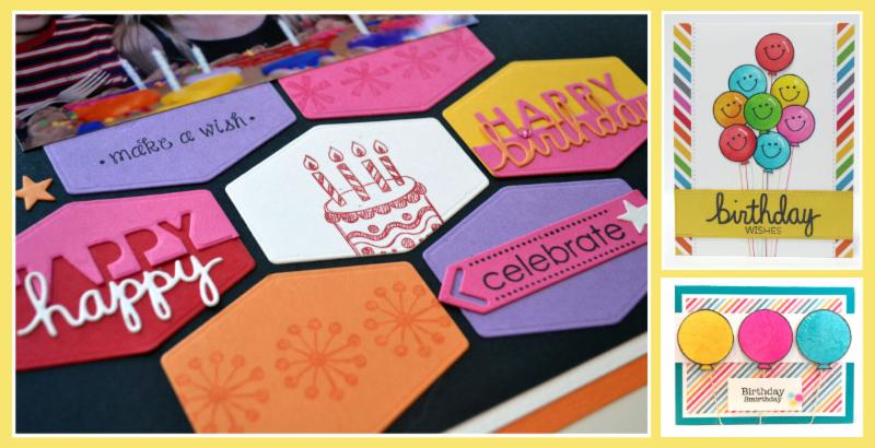 Birthday layouts and cards made with products from TechniqueTuesday.com