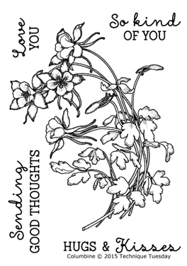 Columbine - Greenhouse Society stamp set from TechniqueTuesday.com