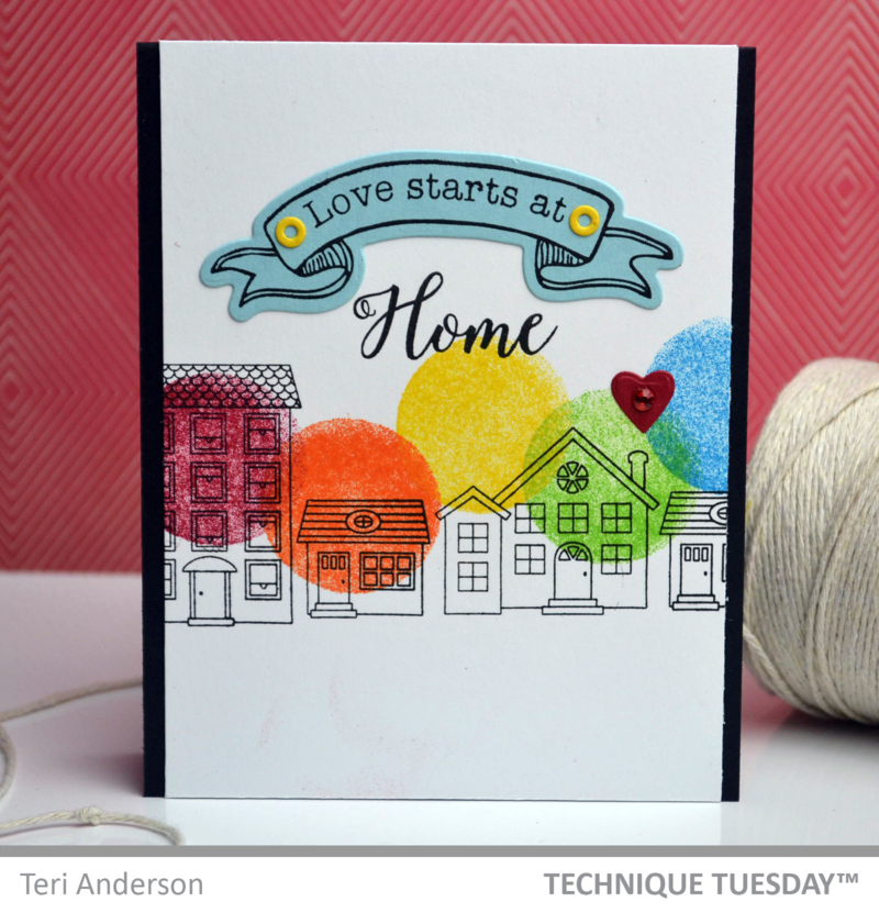 Love Starts card by Teri Anderson for TechniqueTuesday.com