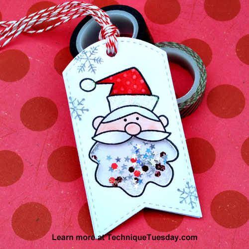 Santa Shaker tag by Tonya Dirk for Technique Tuesday