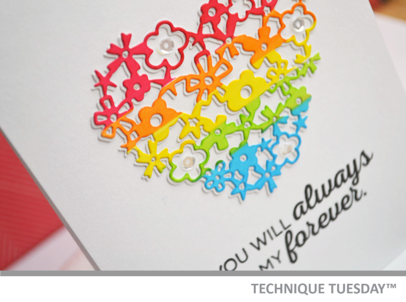 Lacy Rainbow Heart Handmade Card from Technique Tuesday
