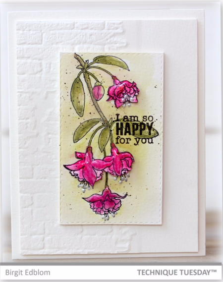 So Happy handmade card by Birgit Edlom for Technique Tuesday // TechniqueTuesday.com