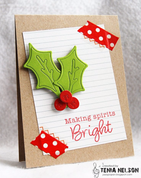 A handmade Christmas card by Tenia Nelson for Technique Tuesday // TechniqueTuesday.com