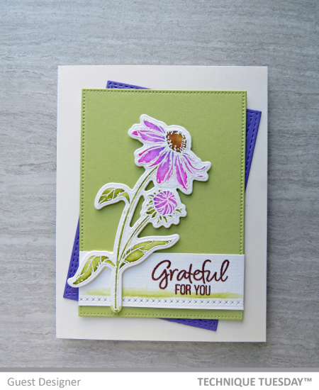 Grateful-For-You-Purple-Flower-Handmade-Card-Michele-F-Technique-Tuesday