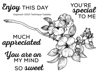Dogwood - Greenhouse Society stamp set from TechniqueTuesday.com