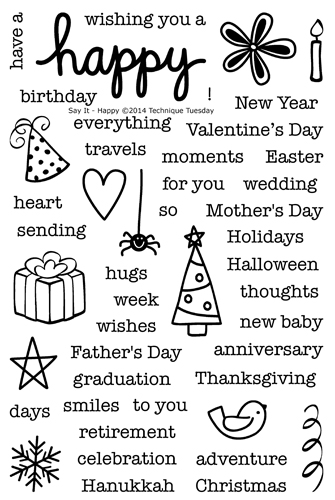 Say It - Happy clear stamp set from TechniqueTuesday.com