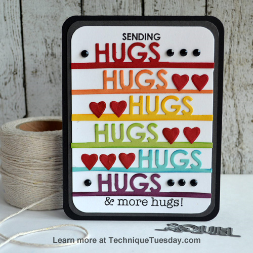 Hugs card by Teri Anderson for TechniqueTuesday.com
