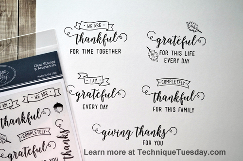 I Am Thankful clear stamp set from TechniqueTuesday.com