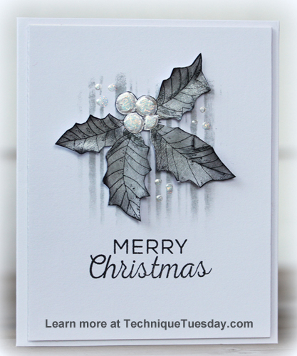 Black and White Merry Christmas card by Birgit Edblom for Technique Tuesday