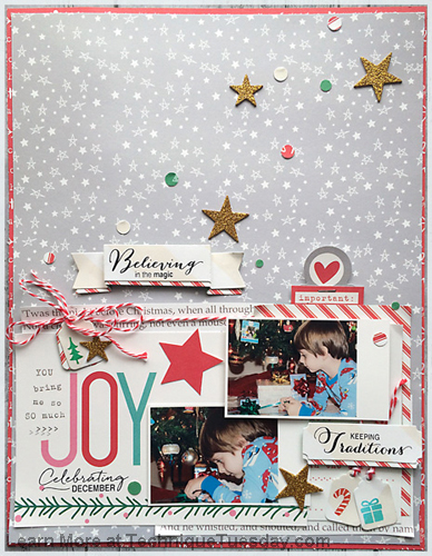 Celebrating December scrapbook page by Daniela Dobson for Technique Tuesday