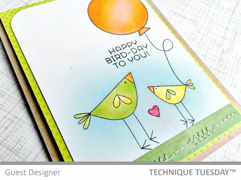 Bird Day card by Jill Hawkins for Technique Tuesday // TechniqueTuesday.com