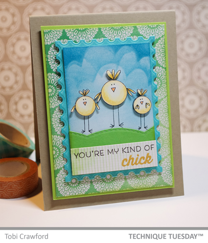 Chicks Rule handmade card by Tobi Crawford for Technique Tuesday // TechniqueTuesday.com