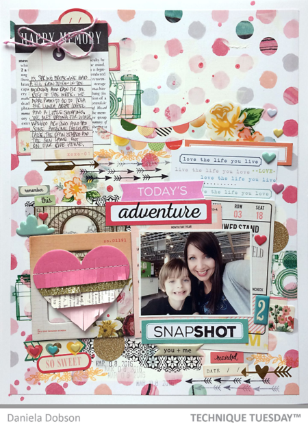 Today's Adventure scrapbook page by Daniela Dobson for Technique Tuesday // TechniqueTuesday.com