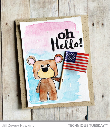 Oh Hello handmade card by Jill Dewey Hawkins for Technique Tuesday // TechniqueTuesday.com