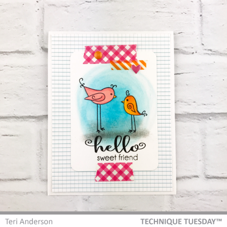A handmade card by Teri Anderson for Technique Tuesday // TechniqueTuesday.com