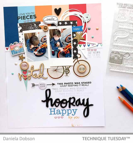 A scrapbook page by Daniela Dobson for Technique Tuesday || TechniqueTuesday.com