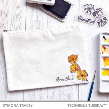 Cherry Blossoms Fabric Stamped DIY Bag by Kymona Tracey