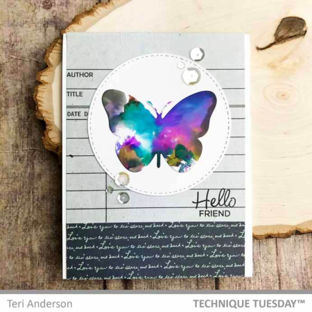 Hello Inked Butterfly Card for Technique Tuesday