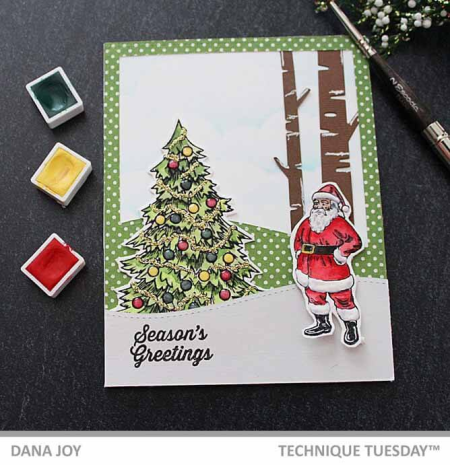 Vintage Christmas Card by Dana Joy | TechniqueTuesday.com