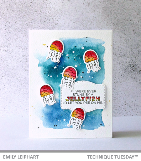 Jellyfish stamped card by Emily Leiphart