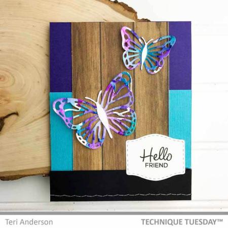 Hello Friend Butterflies Card for Technique Tuesday